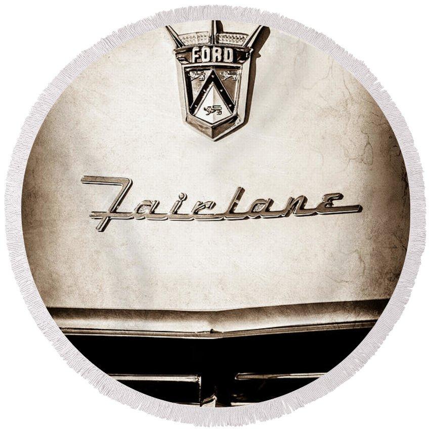 1955 Ford Fairlane Crown Victoria Emblem Round Beach Towel featuring the photograph 1955 Ford Fairlane Crown Victoria Emblem -1713s by Jill Reger