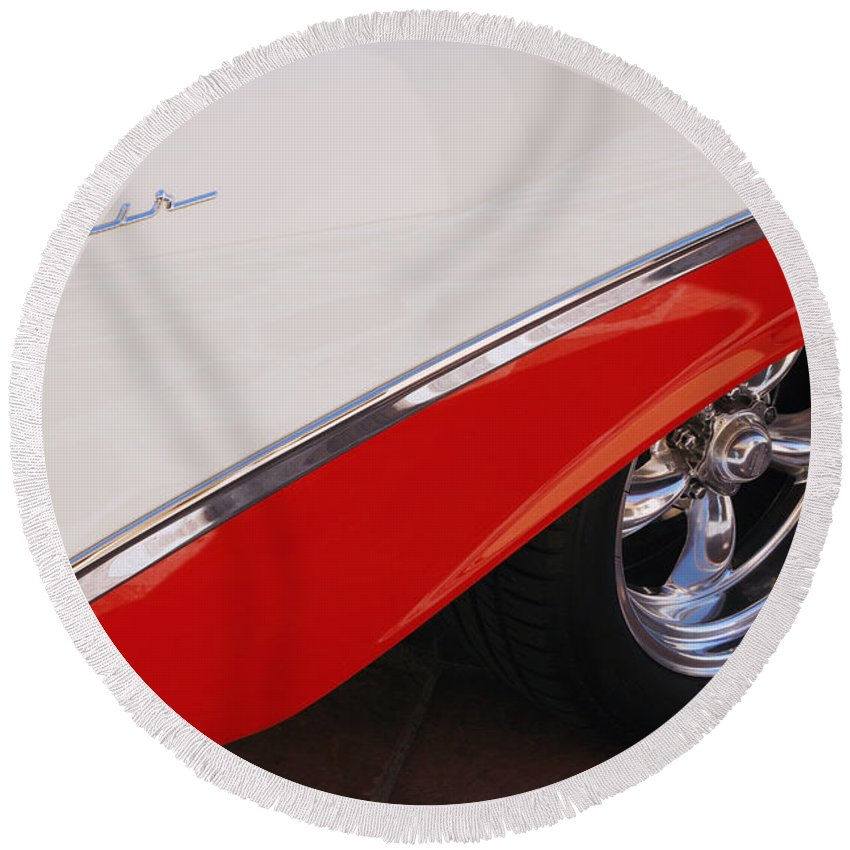 Chevy Round Beach Towel featuring the photograph 1956 Chevrolet Belair Convertible Wheel by Jill Reger