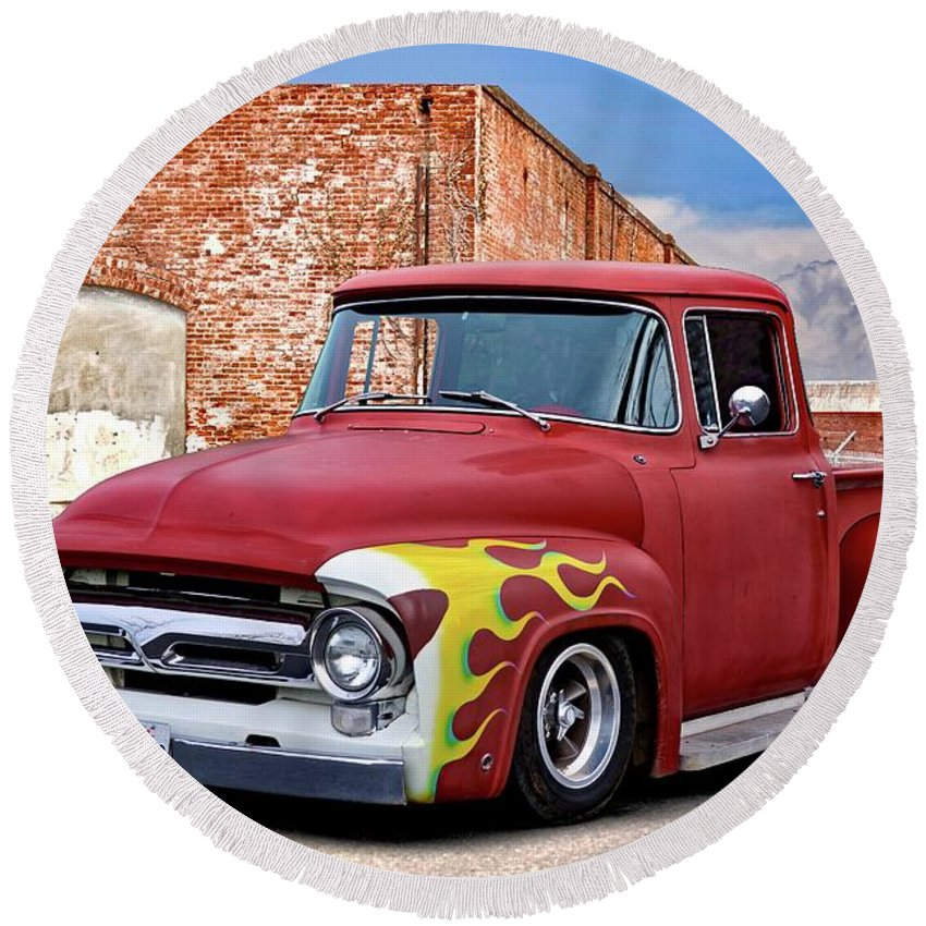Automobile Round Beach Towel featuring the photograph 1956 Ford F100 'brickyard' Pickup by Dave Koontz