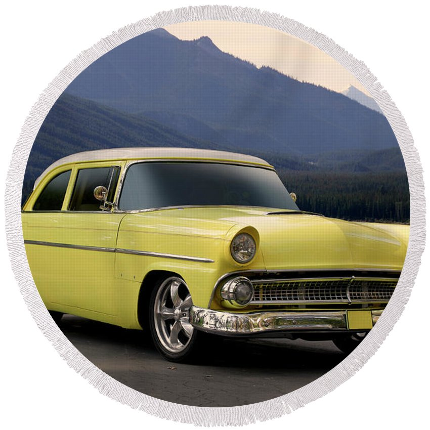 Auto Round Beach Towel featuring the photograph 1956 Ford Fairlane Club Coupe by Dave Koontz