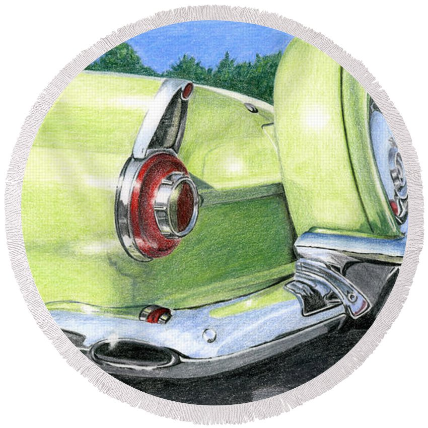 Classic Round Beach Towel featuring the drawing 1956 Ford Thunderbird by Rob De Vries