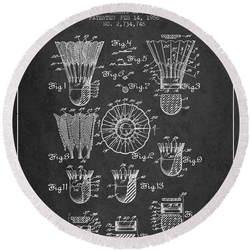 Badminton Round Beach Towel featuring the digital art 1956 Shuttelcock Patent Spbm04_cg by Aged Pixel