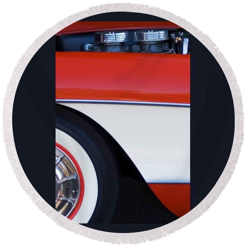 Car Round Beach Towel featuring the photograph 1957 Chevrolet Corvette Convertible Front End by Jill Reger