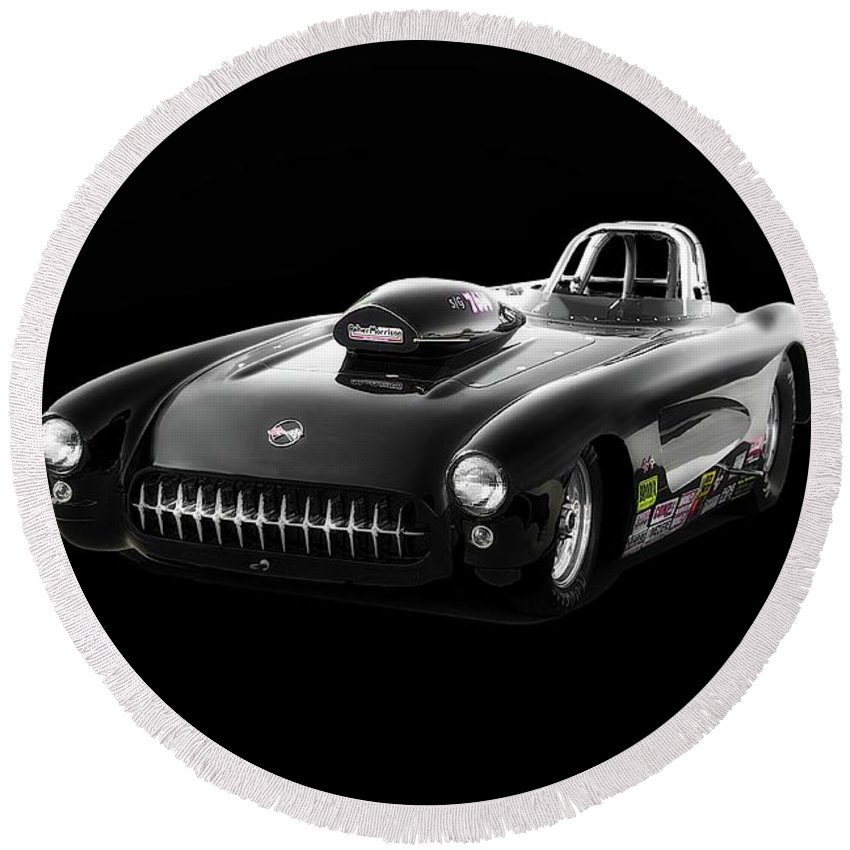 Auto Round Beach Towel featuring the photograph 1957 Corvette Drag Car by Dave Koontz