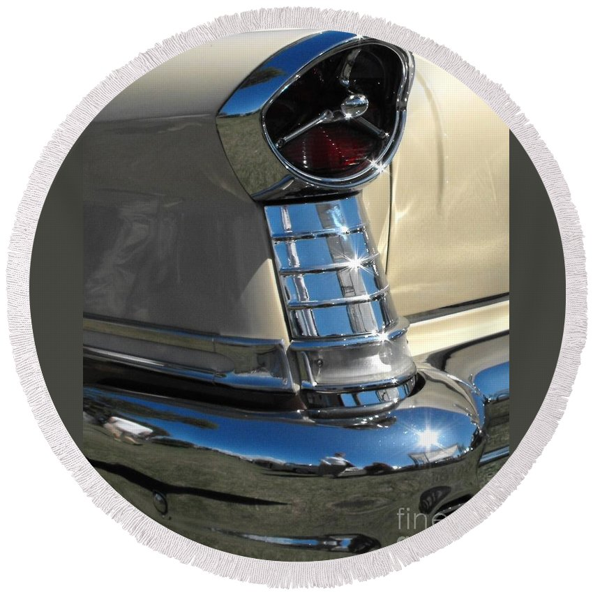 Oldsmobile Round Beach Towel featuring the photograph 1957 Oldsmobile Super 88 by Neil Zimmerman