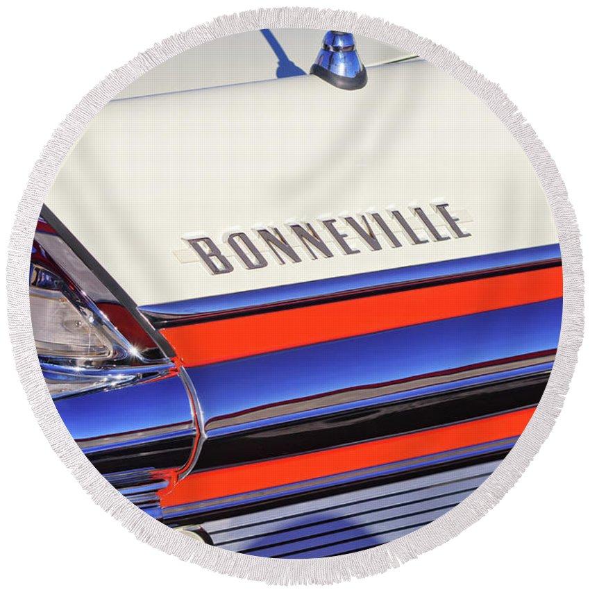 1957 Pontiac Bonneville Taillights Round Beach Towel featuring the photograph 1957 Pontiac Bonneville Taillights by Jill Reger