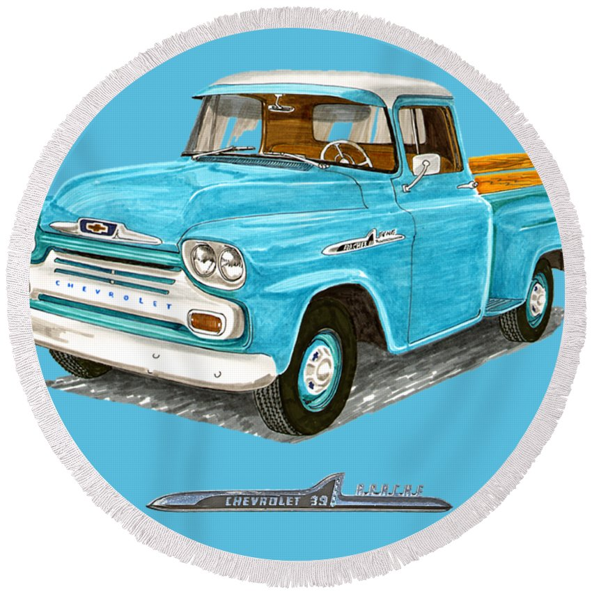 1958 Round Beach Towel featuring the painting Apache Pick Up Truck by Jack Pumphrey