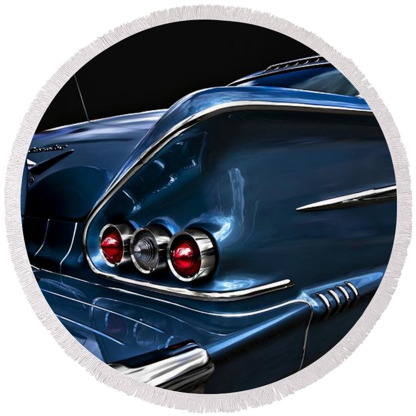 Chevy Round Beach Towel featuring the photograph 1958 Chevrolet Bel Air Impala by Movie Poster Prints