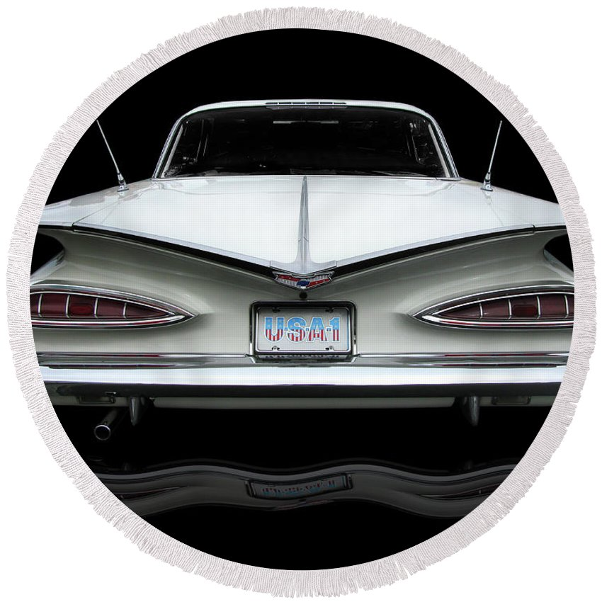 1959 Chevy Impala Taillights Round Beach Towel featuring the photograph 1959 Chevrolet Impala by Peter Piatt