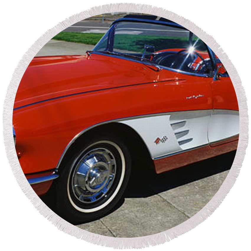 Photography Round Beach Towel featuring the photograph 1959 Corvette by Panoramic Images