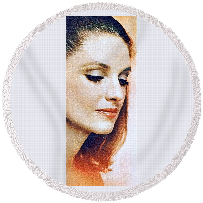 1960 70 Stylish Lady In Red Round Beach Towel featuring the photograph 1960 70 Stylish Lady In Red by R Muirhead Art