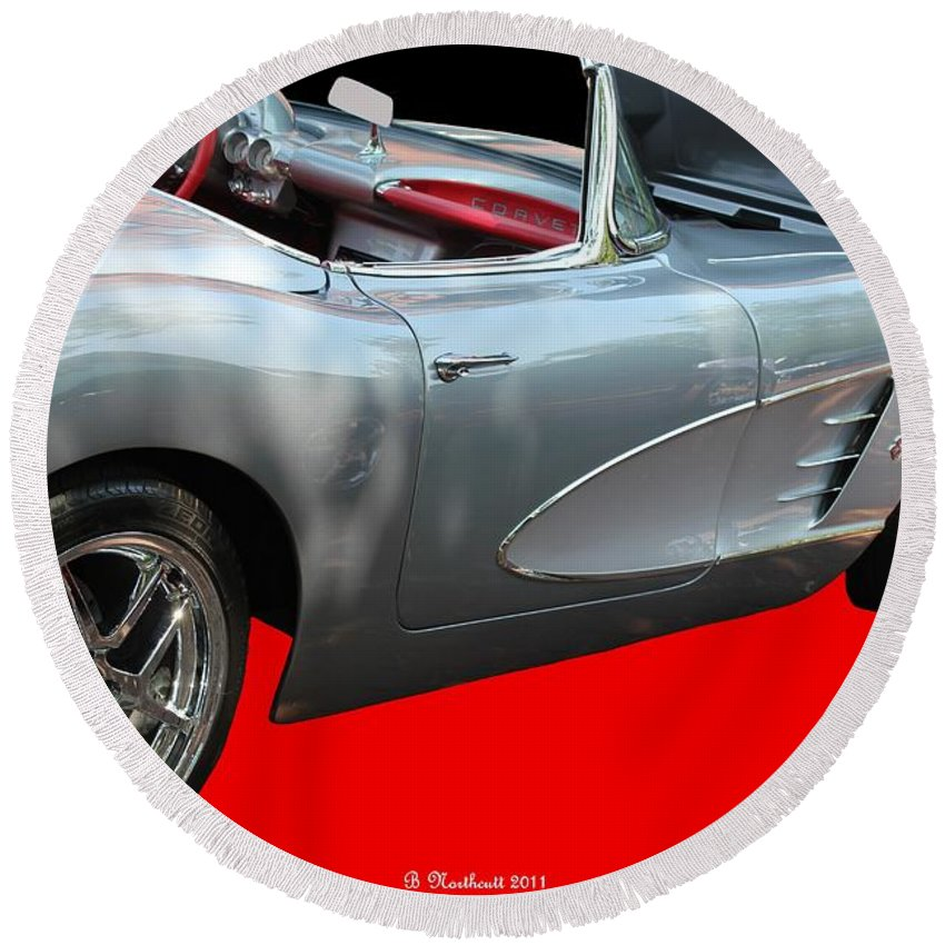 1960 Round Beach Towel featuring the photograph 1960 Corvette Convertible by Betty Northcutt