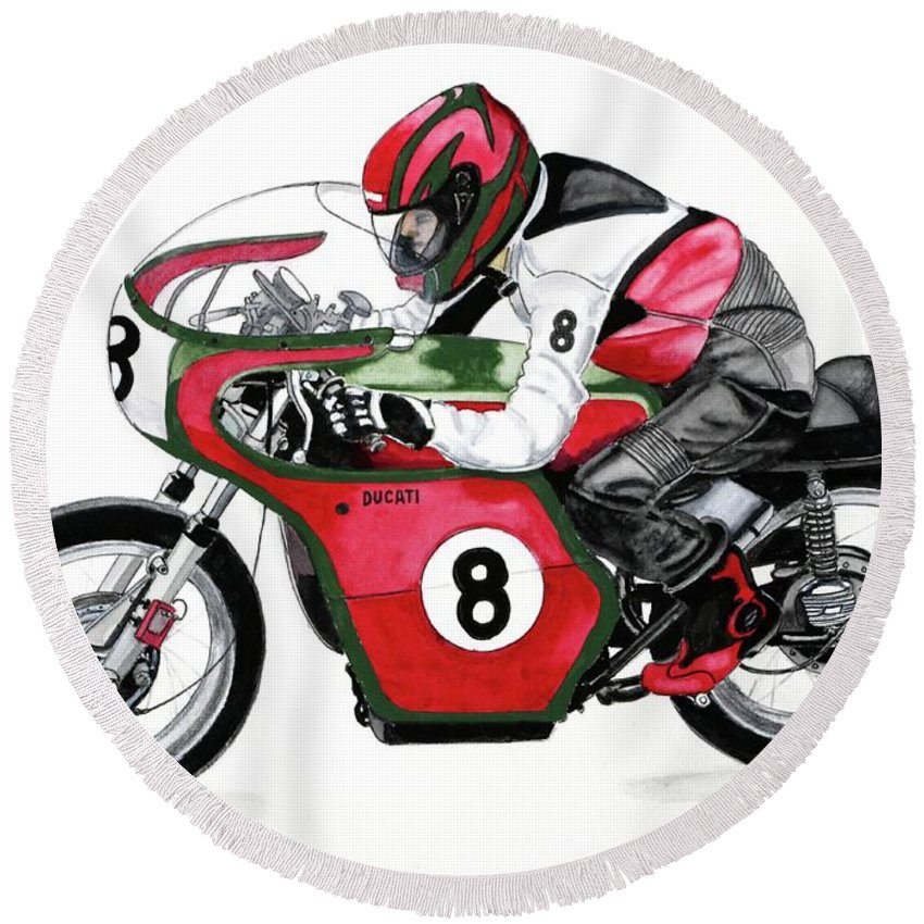 1960's Ducati 250cc Desmo Round Beach Towel featuring the painting 1960s Ducati Desmo by Donald Koehler