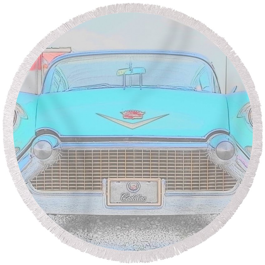 Vintage Cars Round Beach Towel featuring the photograph 1962 Cadillac by Angela Silipena