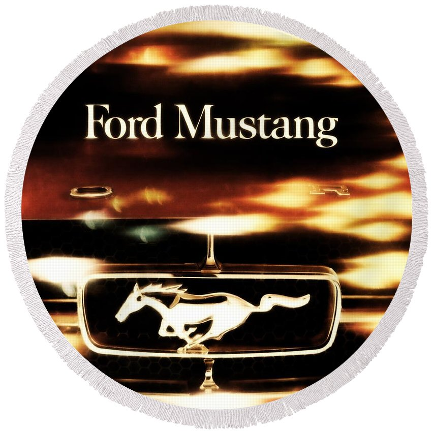 1964 Round Beach Towel featuring the photograph 1964 Ford Mustang by R Muirhead Art