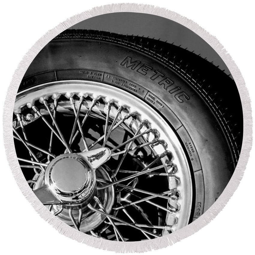 1964 Morgan 44 Spare Tire Emblem Round Beach Towel featuring the photograph 1964 Morgan 44 Spare Tire Black And White by Jill Reger
