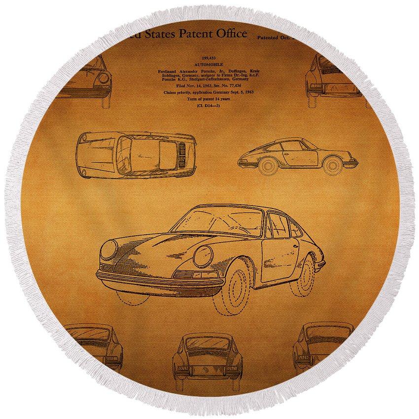 Porsche Patent Round Beach Towel featuring the digital art 1964 Porsche Car Patent 1 by Nishanth Gopinathan