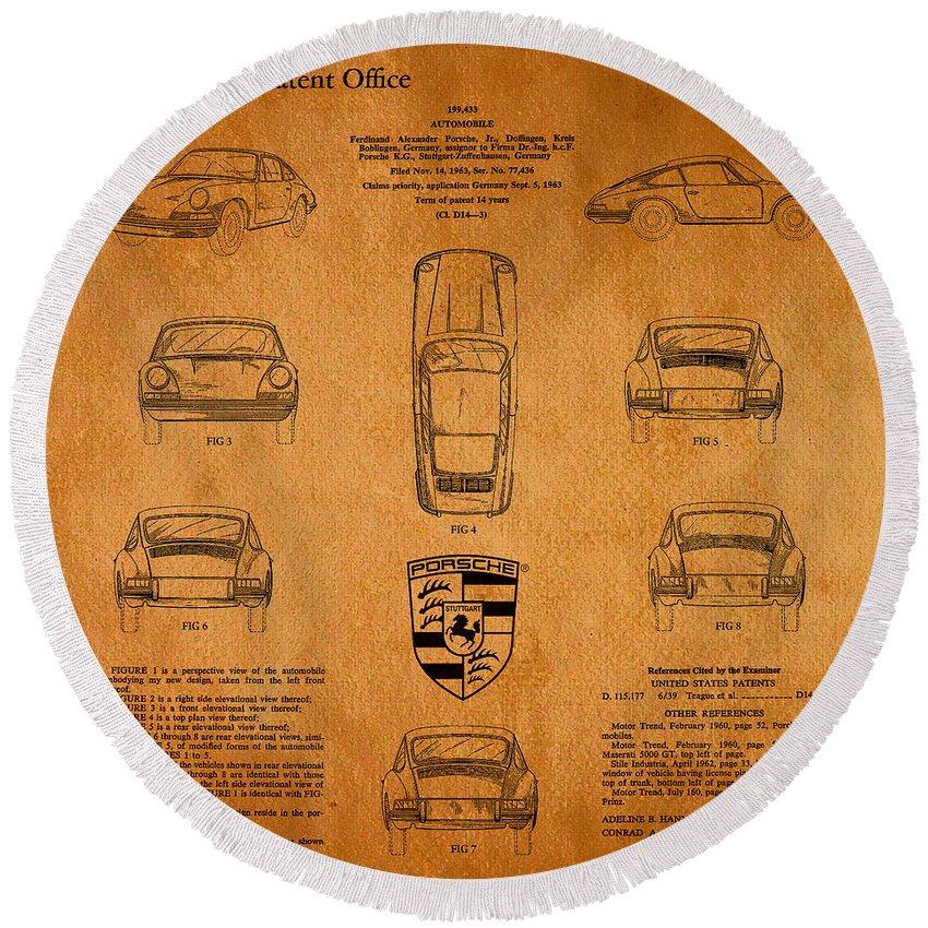 Porsche Patent Round Beach Towel featuring the digital art 1964 Porsche Car Patent 3 by Nishanth Gopinathan