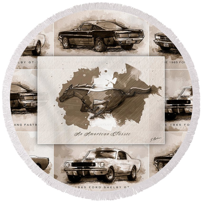 The 1965 Ford Mustang Collage I Round Beach Towel