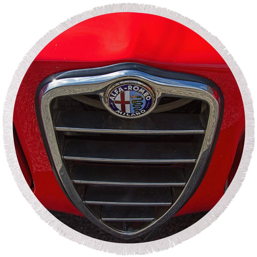 1966 Round Beach Towel featuring the photograph 1966 Alfa Romeo Emblem by Nick Gray