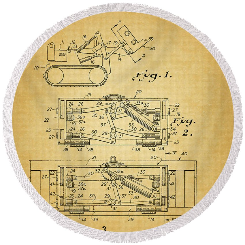 1966 Bulldozer Patent Round Beach Towel featuring the mixed media 1966 Bulldozer Patent by Dan Sproul