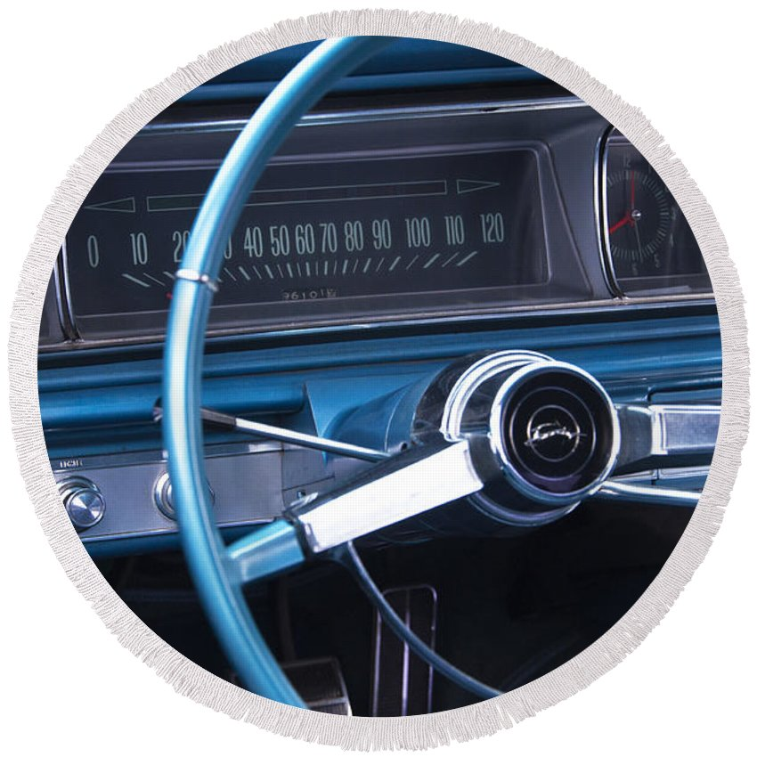 1966 Chevrolet Impala Round Beach Towel featuring the photograph 1966 Chevrolet Impala Dash by Glenn Gordon