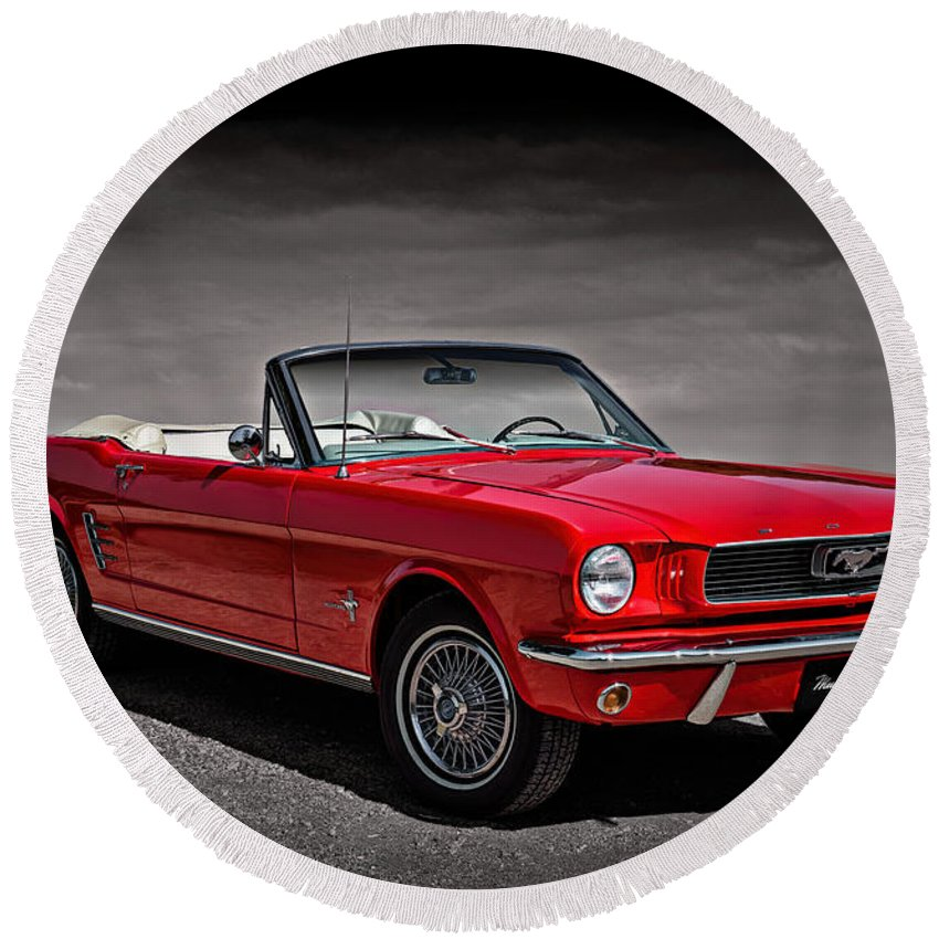 1966 Round Beach Towel featuring the digital art 1966 Ford Mustang Convertible by Douglas Pittman