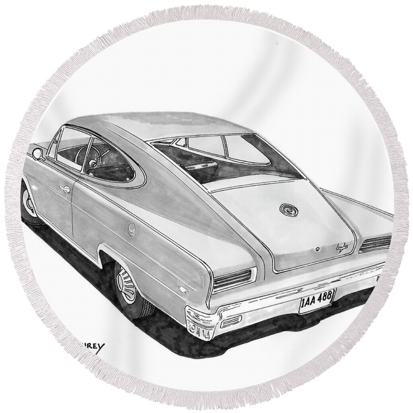 Very Rare Sleek Car By Nash Round Beach Towel featuring the painting 1966 Marlin By Nash by Jack Pumphrey