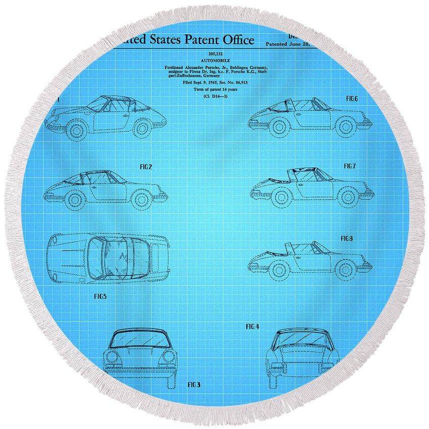 Porsche Patent Round Beach Towel featuring the drawing 1966 Porsche Car Patent 2 by Nishanth Gopinathan
