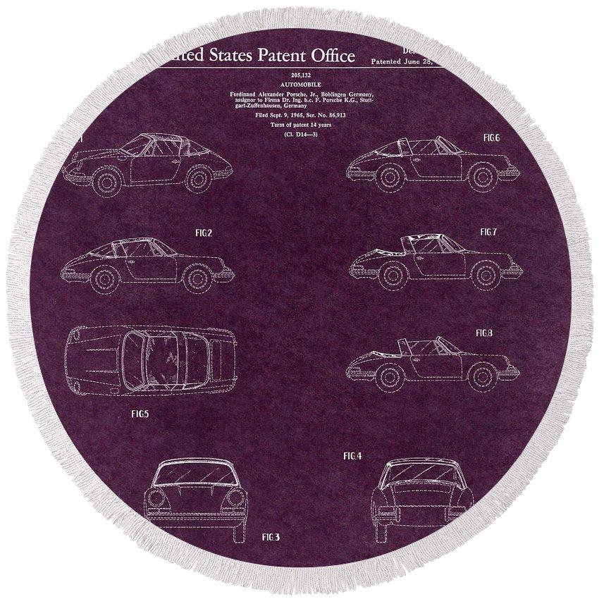 Porsche Patent Round Beach Towel featuring the digital art 1966 Porsche Car Patent 4 by Nishanth Gopinathan