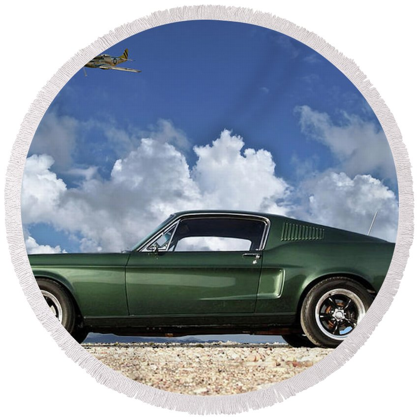 1968 Ford Round Beach Towel featuring the mixed media 1968 Ford Bullitt Mustang Gt 390 Fastback, P-51 Mustang, Plymouth Rock Chicken by Thomas Pollart
