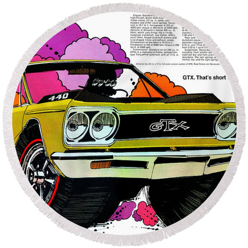 1969 Round Beach Towel featuring the digital art 1968 Plymouth Gtx - Adios by Digital Repro Depot