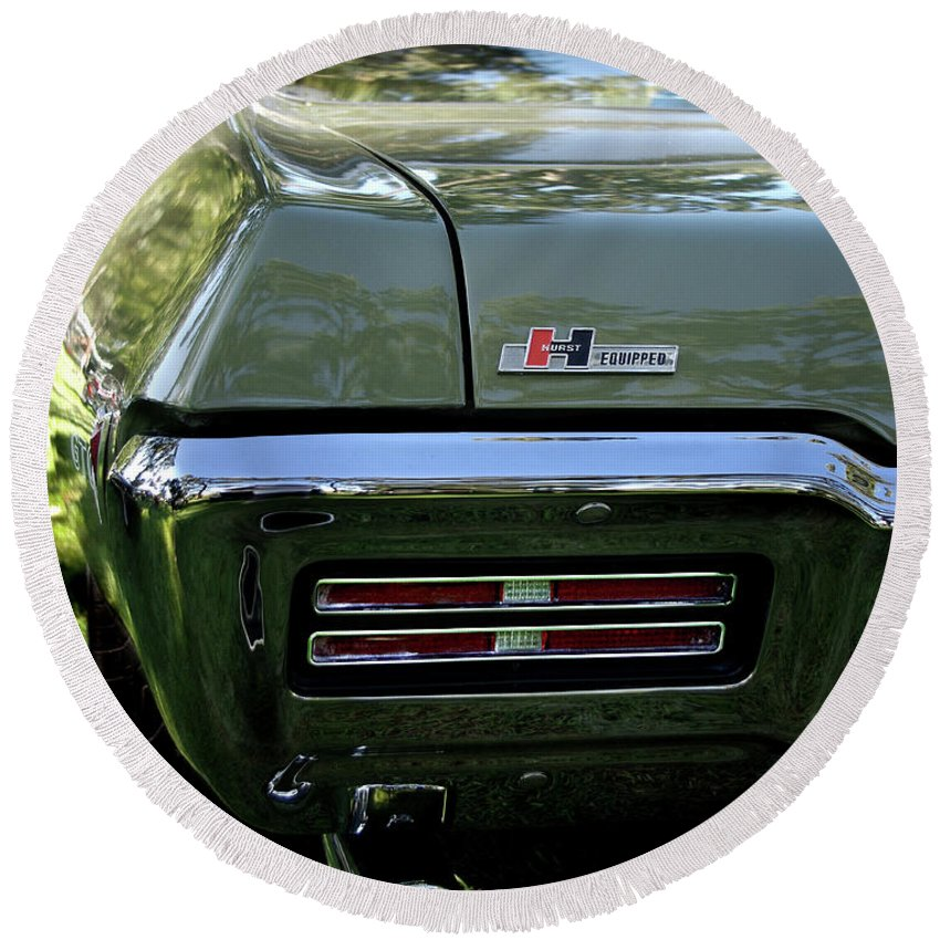 1968 Pontiac Gto Round Beach Towel featuring the photograph 1968 Pontiac Gto by Peter Piatt