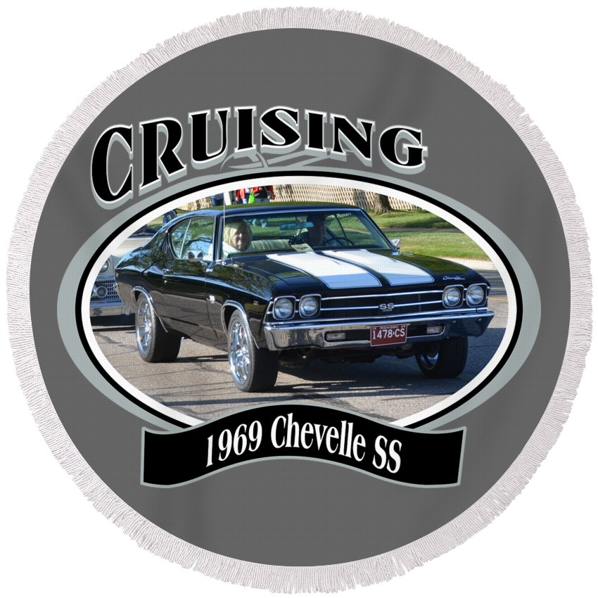 1969 Chevelle Ss Nuckolls Chevy Chevrolet Car Black White Round Beach Towel featuring the photograph 1969 Chevelle Ss Nuckolls by Mobile Event Photo Car Show Photography