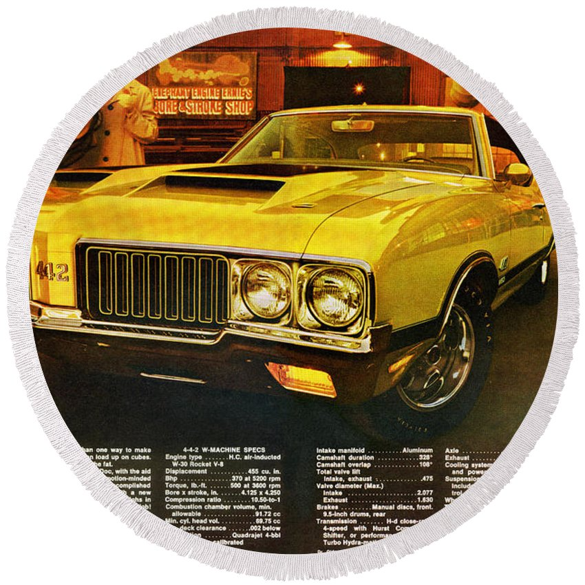 W-31.w-30 Round Beach Towel featuring the digital art 1970 Oldsmobile Cutlass 442 W-30 by Digital Repro Depot