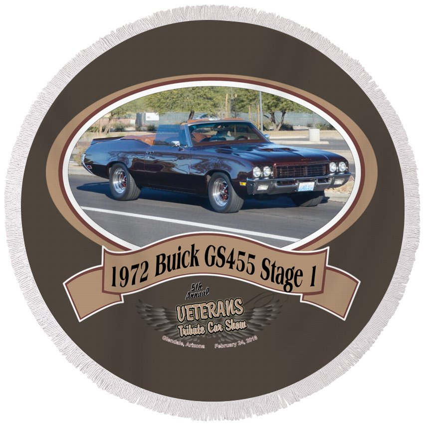 1972 Buick Gs455 Stage 1 Lundbom Brown Car Round Beach Towel featuring the photograph 1972 Buick Gs455 Stage 1 Lundbom1972 Buick Gs455 Stage 1 Lundbom by Mobile Event Photo Car Show Photography
