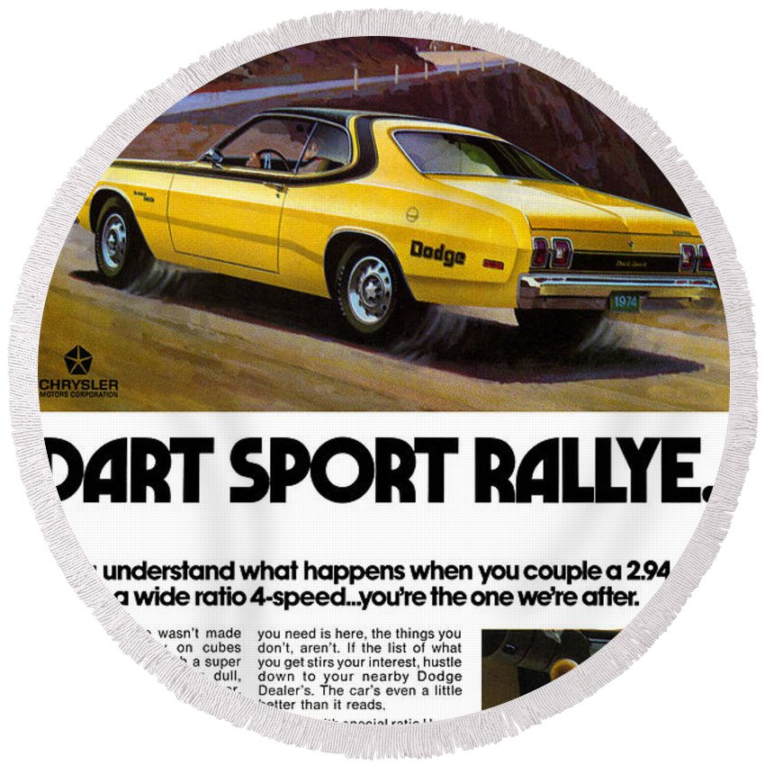 1974 Round Beach Towel featuring the digital art 1974 Dodge Dart Sport Rallye by Digital Repro Depot