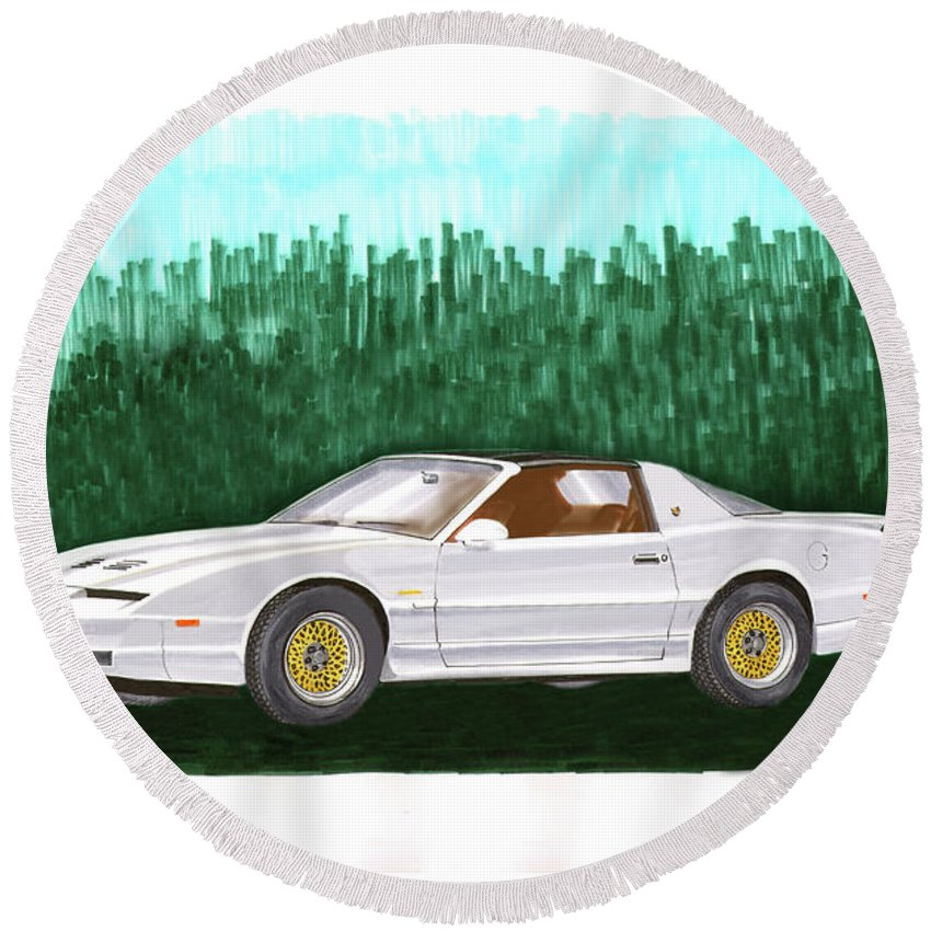 The Third Generation Pontiac Firebird Was Introduced In Late 1981 By Pontiac Alongside Its Corporate Cousin Round Beach Towel featuring the painting 1989 Pontiac Trans Am Firebird by Jack Pumphrey