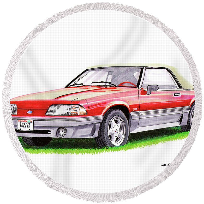 Saleen Currently Manufactures The S302 (mustang-based) Round Beach Towel featuring the painting 1989 Saleen Mustang Convertible by Jack Pumphrey