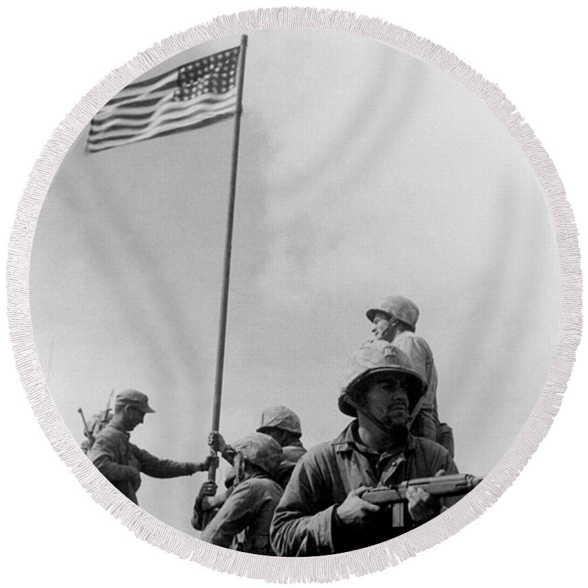 Iwo Jima Round Beach Towel featuring the photograph 1st Flag Raising On Iwo Jima by War Is Hell Store