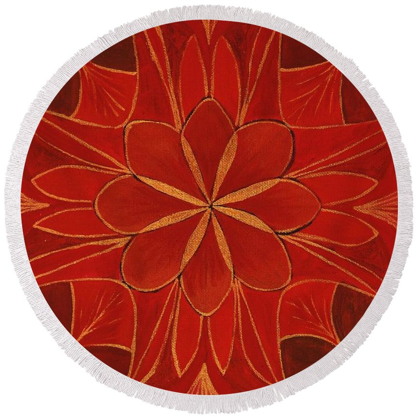 Mandala Round Beach Towel featuring the painting 1st Mandala - Root Chakra by Jennifer Christenson