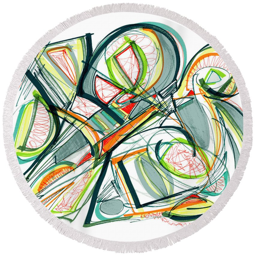 Abstract Art Round Beach Towel featuring the drawing 2010 Abstract Drawing Seventeen by Lynne Taetzsch