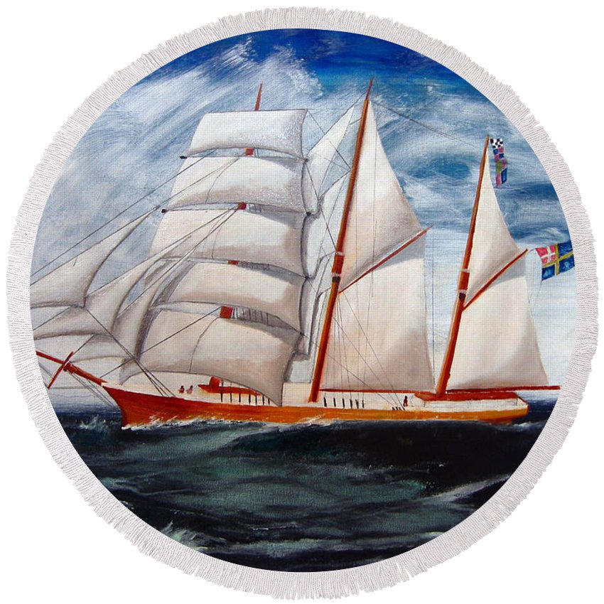 Tall Ship Round Beach Towel featuring the painting 3 Master Tall Ship by Richard Le Page