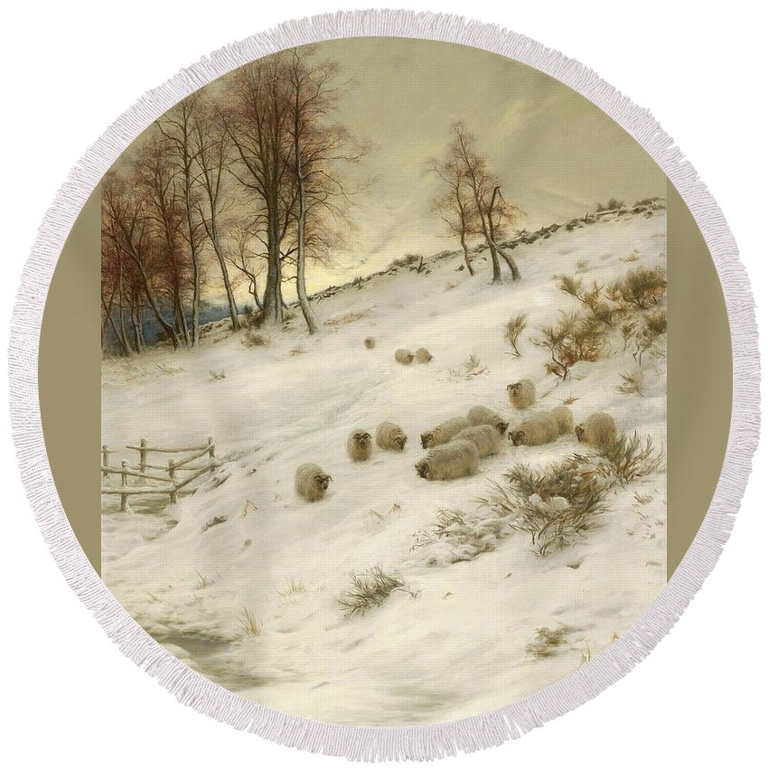 A Flock Of Sheep In A Snowstorm Round Beach Towel featuring the painting A Flock Of Sheep In A Snowstorm by Joseph Farquharson