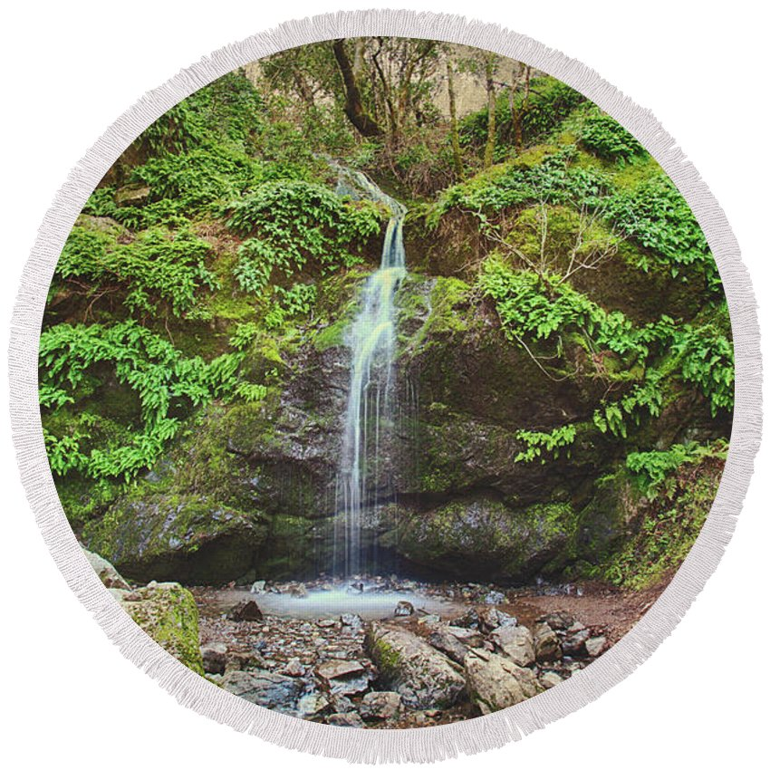 Buck Gulch Falls Round Beach Towel featuring the photograph A Little Bit Of Love by Laurie Search