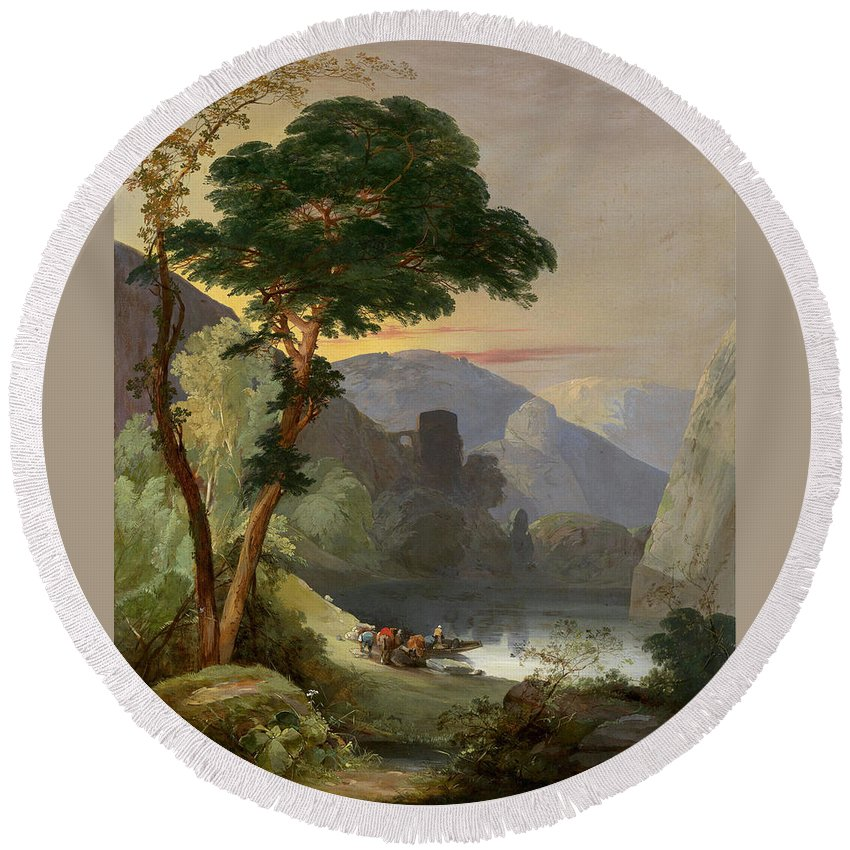 Frederick Lee Bridell (1831–1863) A Mountain Lake In The Italian Alps Round Beach Towel featuring the painting A Mountain Lake In The Italian Alps by Frederick Lee Bridell