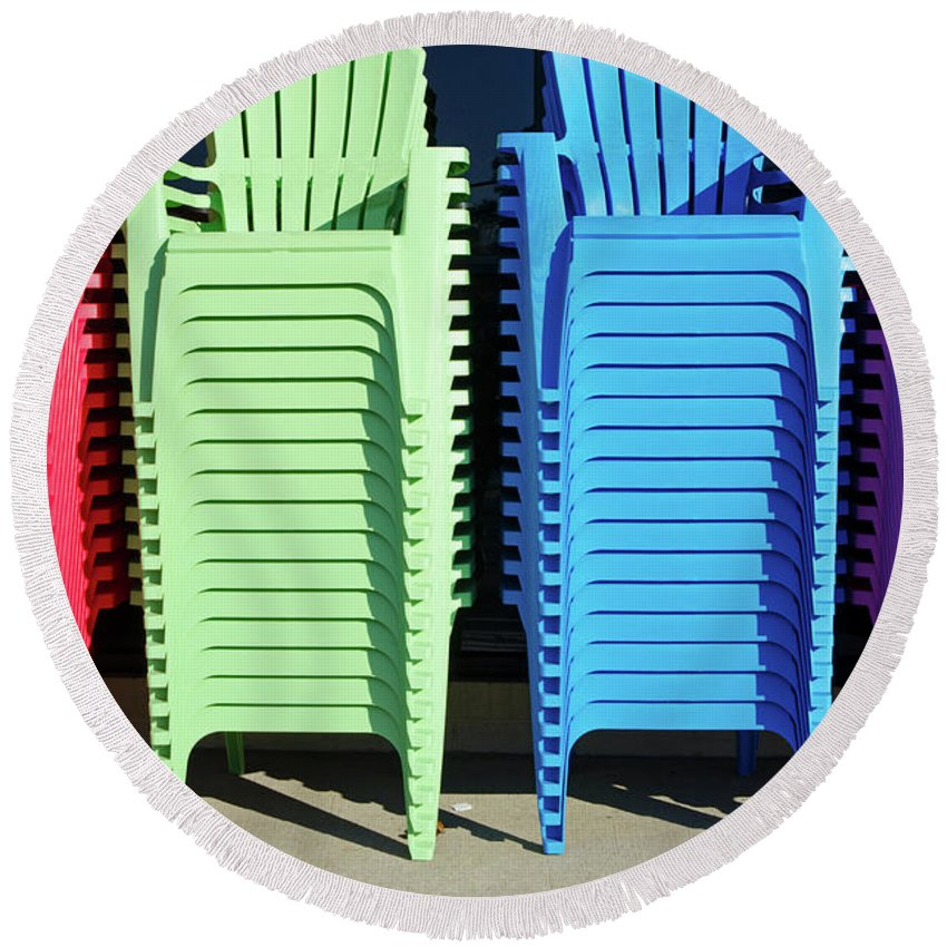 Chair Round Beach Towel featuring the photograph A Rainbow Of Chairs by Craig McCausland
