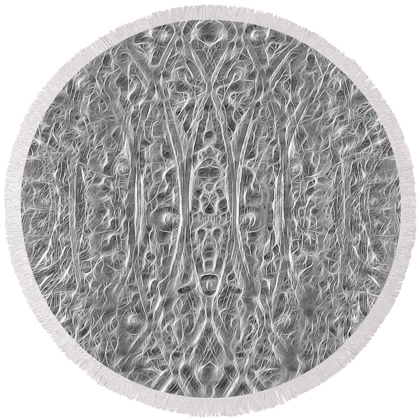Round Beach Towel featuring the digital art Abstract Black And White by Cathy Anderson