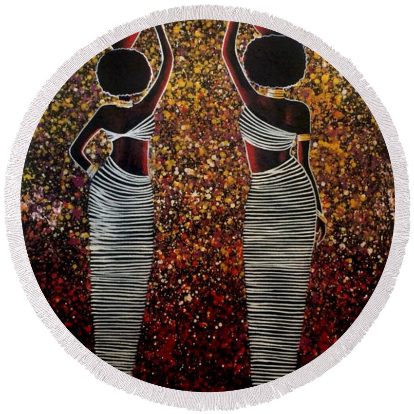 African Women Round Beach Towel featuring the painting African Women by Jethro Longwe