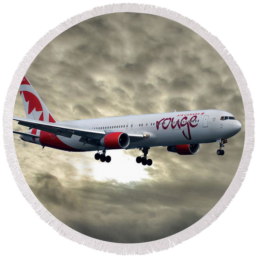 Air Canada Round Beach Towel featuring the photograph Air Canada Rouge Boeing 767-333 by Smart Aviation